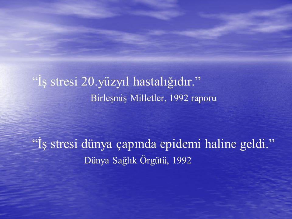 İş stresi 20.yüzyıl hastalığıdır. Birleşmiş Milletler, 1992 raporu İş stresi dünya çapında epidemi haline geldi. Dünya Sağlık Örgütü, 1992