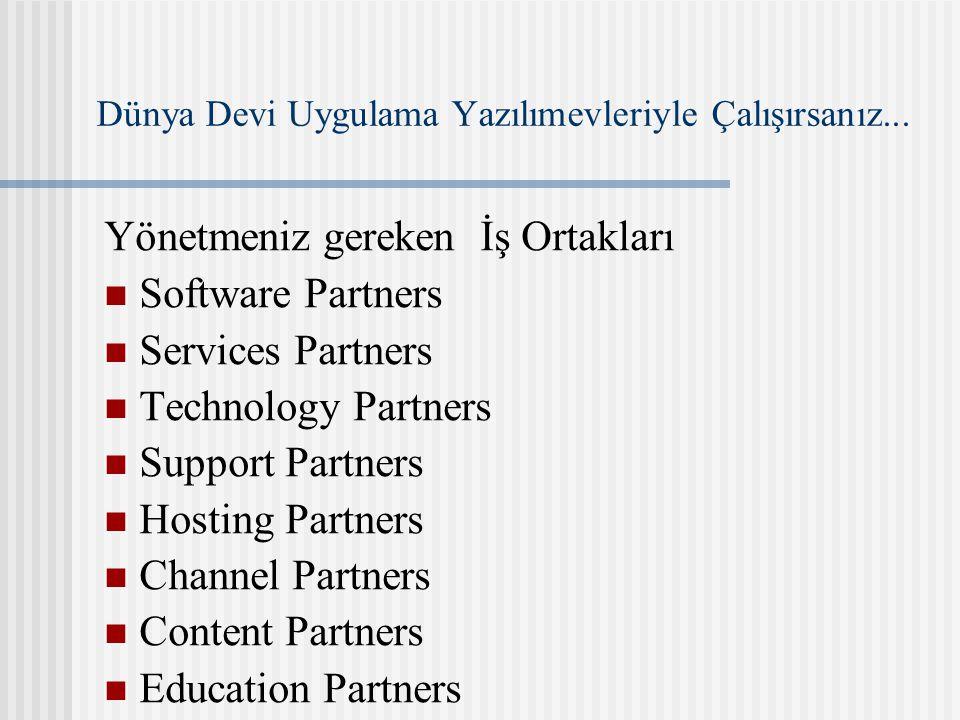 Dünya Devi Uygulama Yazılımevleriyle Çalışırsanız... Yönetmeniz gereken İş Ortakları Software Partners Services Partners Technology Partners Support P