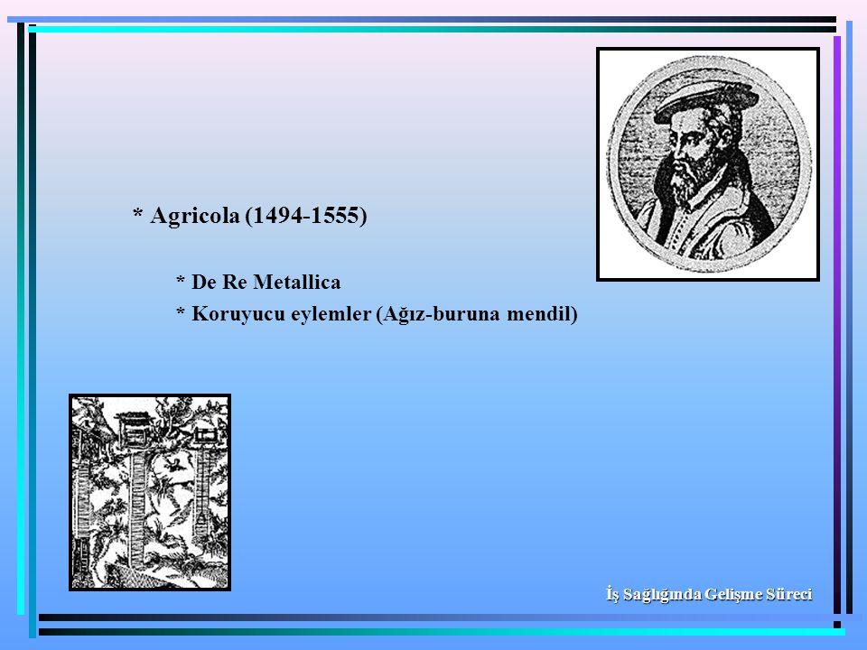 * Agricola (1494-1555) * De Re Metallica * Koruyucu eylemler (Ağız-buruna mendil) İş Sağlığında Gelişme Süreci