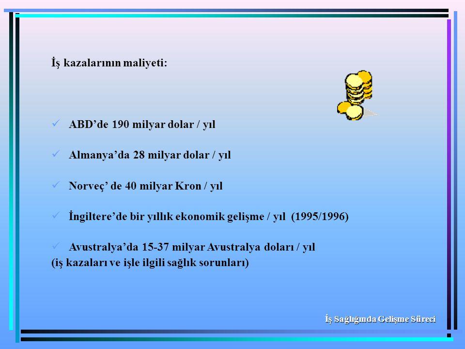 İş kazalarının maliyeti: ABD'de 190 milyar dolar / yıl Almanya'da 28 milyar dolar / yıl Norveç' de 40 milyar Kron / yıl İngiltere'de bir yıllık ekonom