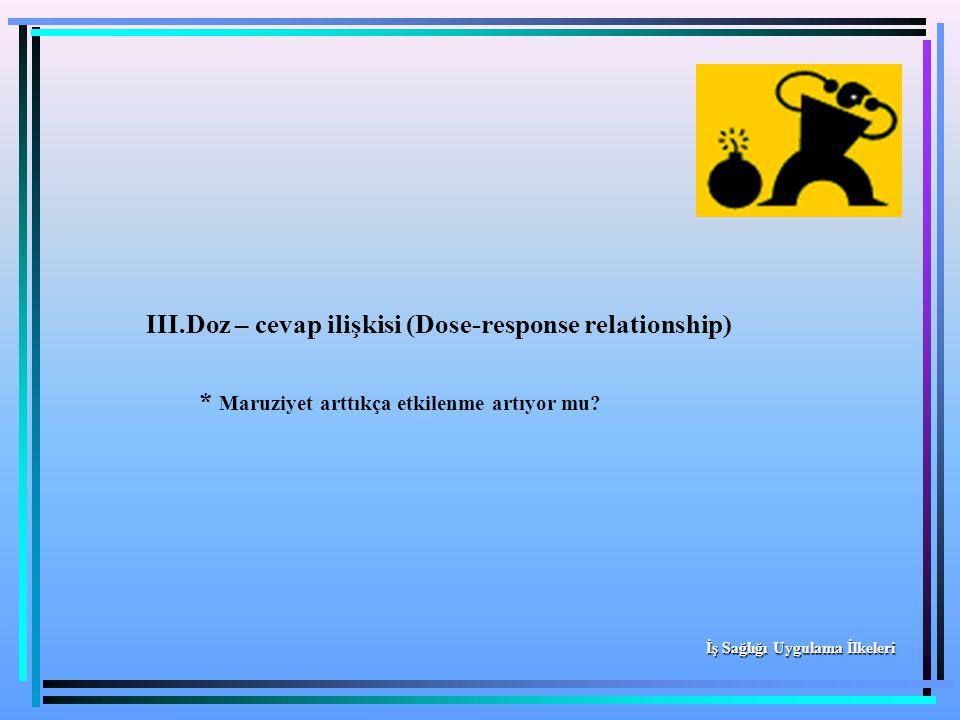 III.Doz – cevap ilişkisi (Dose-response relationship) * Maruziyet arttıkça etkilenme artıyor mu? İş Sağlığı Uygulama İlkeleri