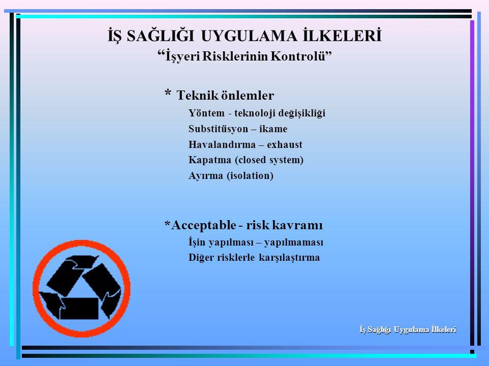 * Teknik önlemler Yöntem - teknoloji değişikliği Substitüsyon – ikame Havalandırma – exhaust Kapatma (closed system) Ayırma (isolation) *Acceptable -