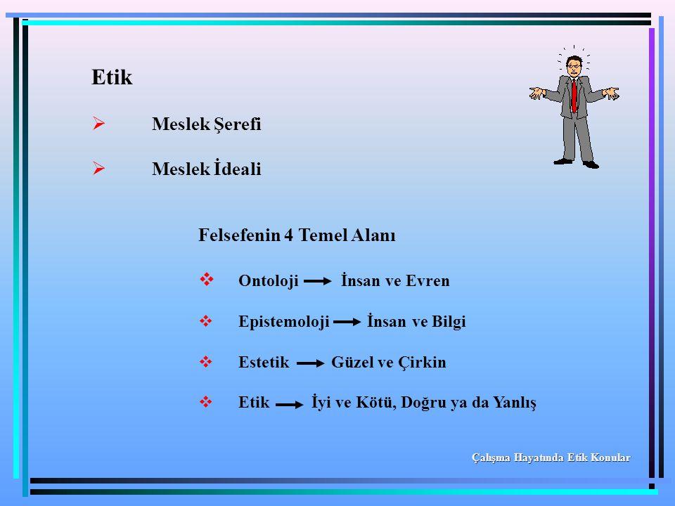 Etik  Meslek Şerefi  Meslek İdeali Felsefenin 4 Temel Alanı  Ontoloji İnsan ve Evren  Epistemoloji İnsan ve Bilgi  Estetik Güzel ve Çirkin  Etik