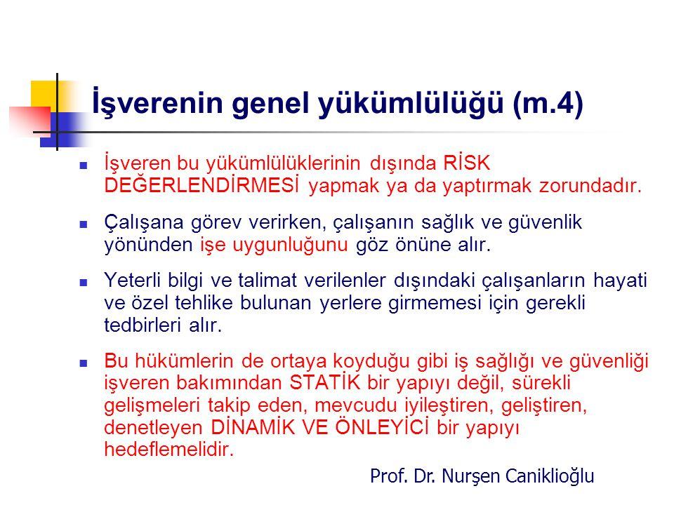 Prof. Dr. Nurşen Caniklioğlu İşverenin genel yükümlülüğü (m.4) İşveren bu yükümlülüklerinin dışında RİSK DEĞERLENDİRMESİ yapmak ya da yaptırmak zorund