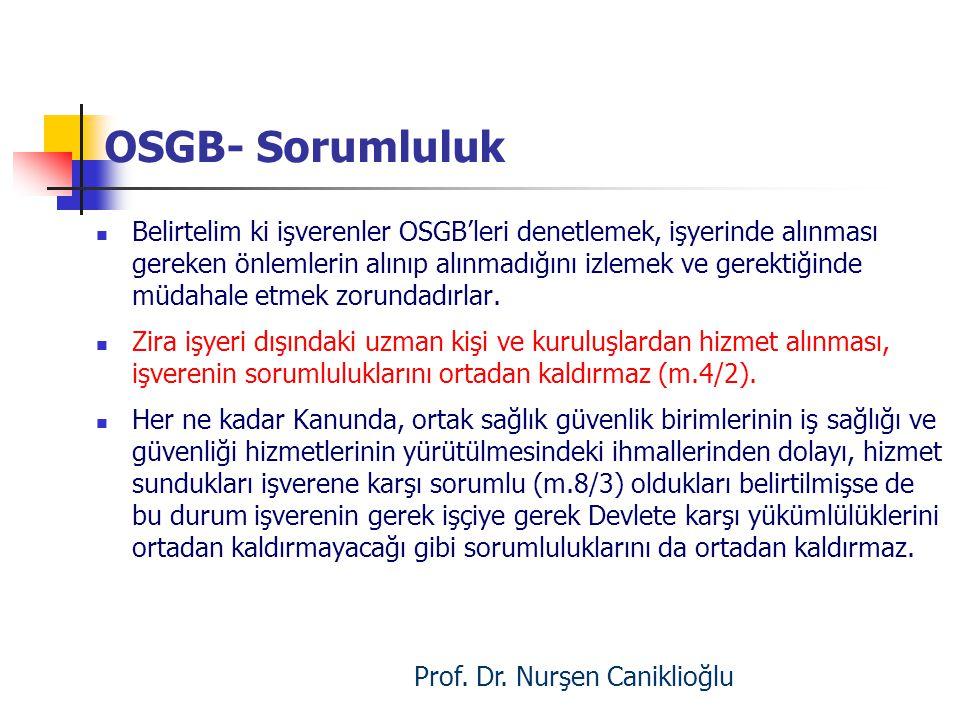 OSGB- Sorumluluk Belirtelim ki işverenler OSGB'leri denetlemek, işyerinde alınması gereken önlemlerin alınıp alınmadığını izlemek ve gerektiğinde müda