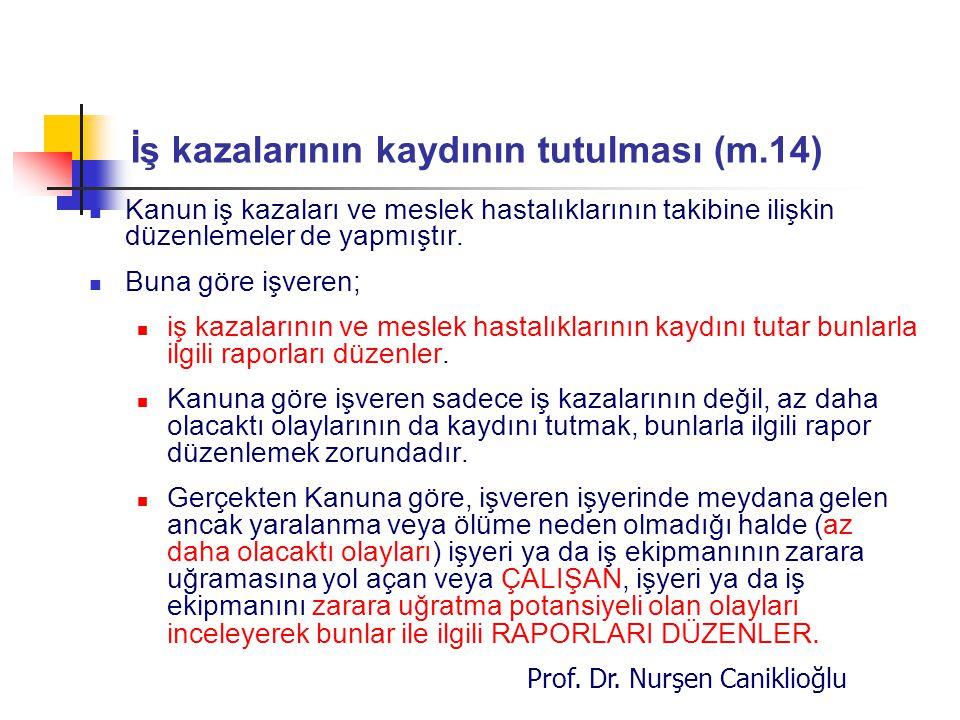 Prof. Dr. Nurşen Caniklioğlu İş kazalarının kaydının tutulması (m.14) Kanun iş kazaları ve meslek hastalıklarının takibine ilişkin düzenlemeler de yap