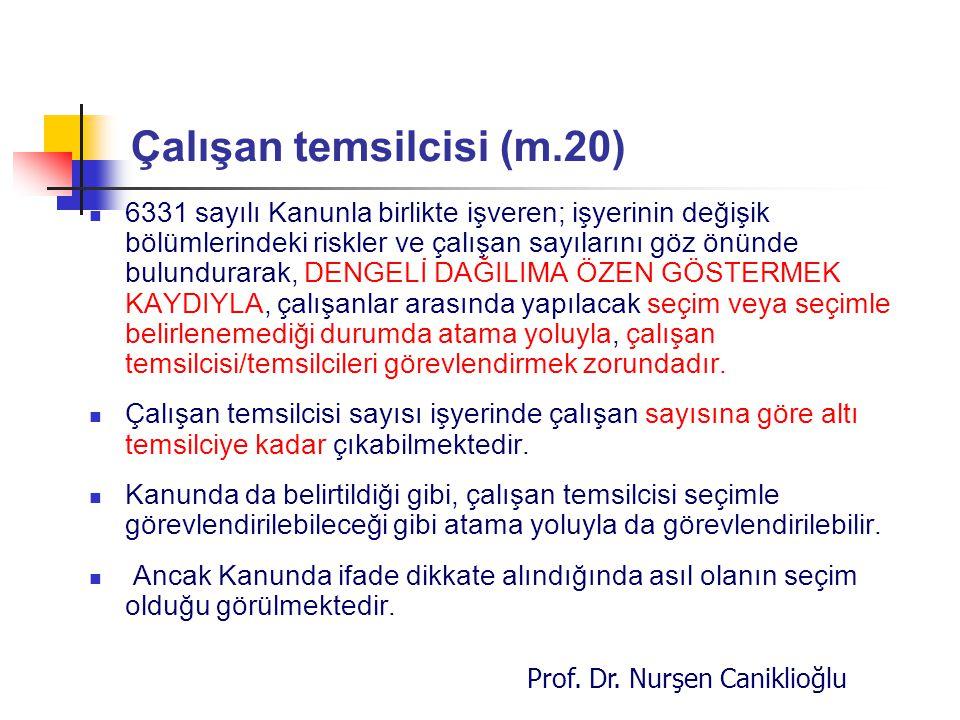 Prof. Dr. Nurşen Caniklioğlu Çalışan temsilcisi (m.20) 6331 sayılı Kanunla birlikte işveren; işyerinin değişik bölümlerindeki riskler ve çalışan sayıl