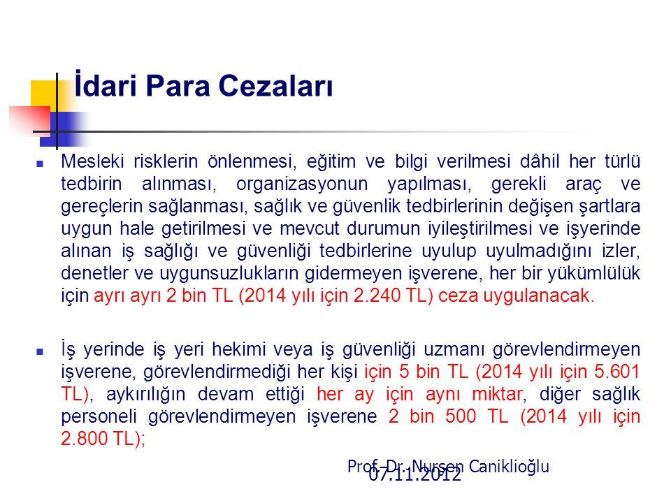 07.11.2012 Prof. Dr. Nurşen Caniklioğlu İdari Para Cezaları Mesleki risklerin önlenmesi, eğitim ve bilgi verilmesi dâhil her türlü tedbirin alınması,