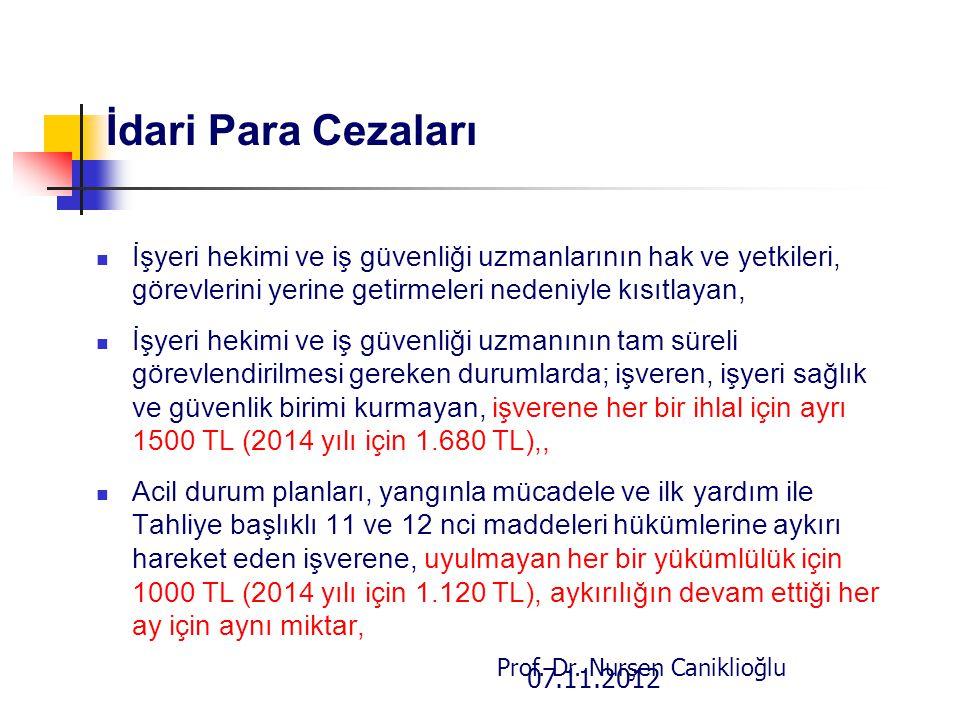 07.11.2012 Prof. Dr. Nurşen Caniklioğlu İdari Para Cezaları İşyeri hekimi ve iş güvenliği uzmanlarının hak ve yetkileri, görevlerini yerine getirmeler