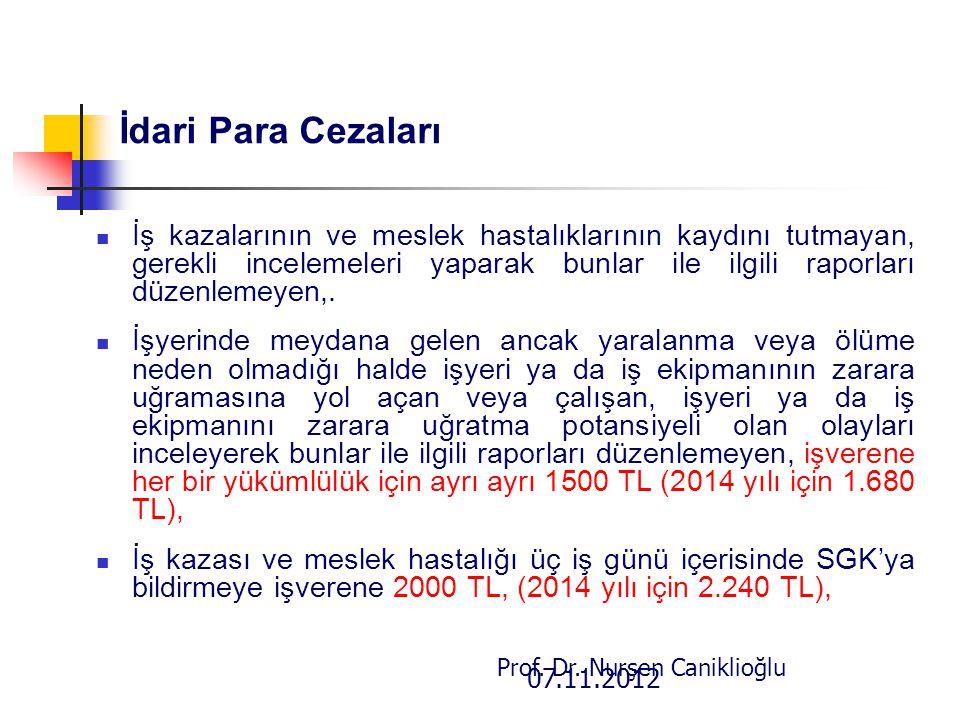 07.11.2012 Prof. Dr. Nurşen Caniklioğlu İdari Para Cezaları İş kazalarının ve meslek hastalıklarının kaydını tutmayan, gerekli incelemeleri yaparak bu