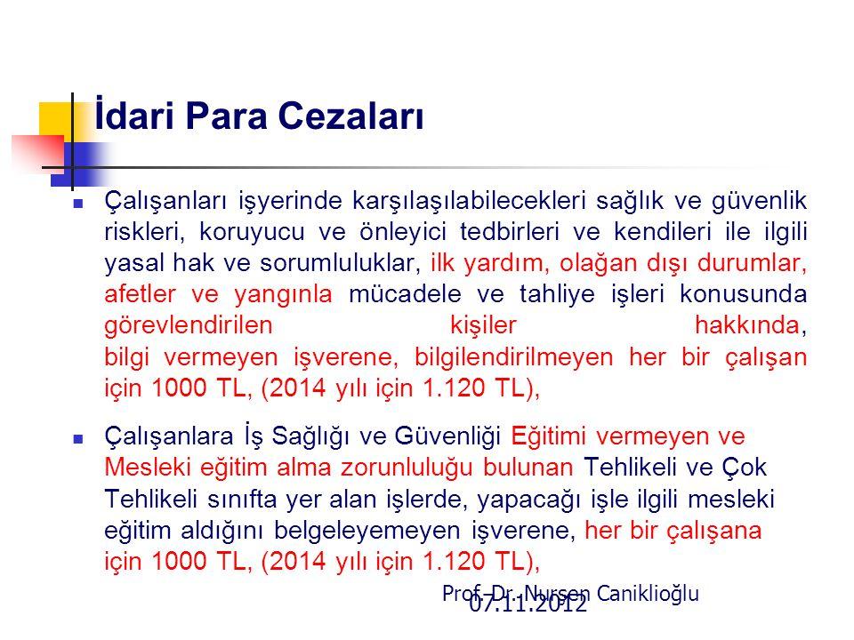 07.11.2012 Prof. Dr. Nurşen Caniklioğlu İdari Para Cezaları Çalışanları işyerinde karşılaşılabilecekleri sağlık ve güvenlik riskleri, koruyucu ve önle