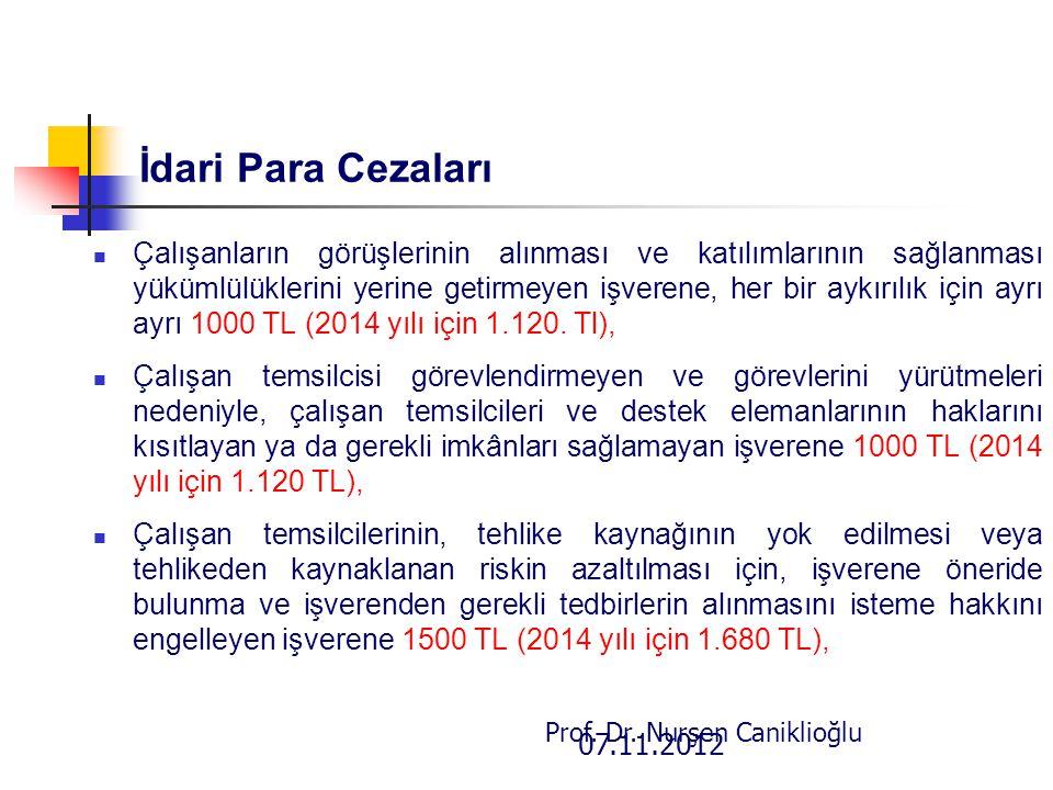 07.11.2012 Prof. Dr. Nurşen Caniklioğlu İdari Para Cezaları Çalışanların görüşlerinin alınması ve katılımlarının sağlanması yükümlülüklerini yerine ge