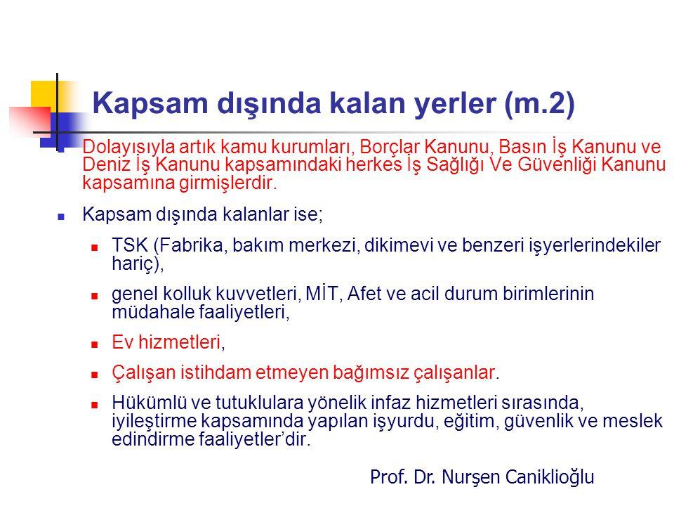 Prof. Dr. Nurşen Caniklioğlu Kapsam dışında kalan yerler (m.2) Dolayısıyla artık kamu kurumları, Borçlar Kanunu, Basın İş Kanunu ve Deniz İş Kanunu ka