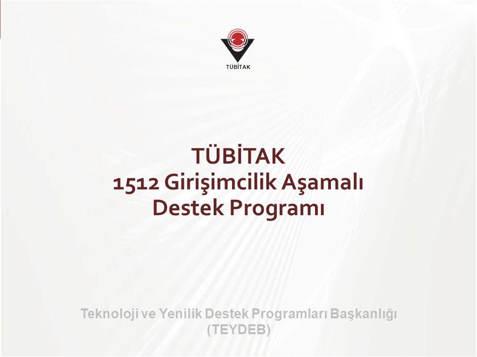 TÜBİTAK TÜBİTAK 1512 BİREYSEL GİRİŞİMCİLİK AŞAMALI DESTEK PROGRAMI Aşama 1 İş fikrinin İş Planına dönüştürülmesi Girişimcilik eğitimi ve rehber desteği Aşama 2 Şirketleşme ve teknolojik doğrulama Geri ödemesiz sermaye desteği (100.000 TL; hibe) Aşama 3 TÜBİTAK 1507 Destek Programı (550.000 TL; % 75 hibe) Aşama 4 Ticarileştirme Proje pazarları, girişim sermayesi şirketleri Rehber desteği BSTB Teknogirişim programını başarıyla tamamlayan firmalar Değerlendirme PAZARA GİRİŞ Değerlendirme 1512: 4 Aşamalı Girişimcilik Desteği
