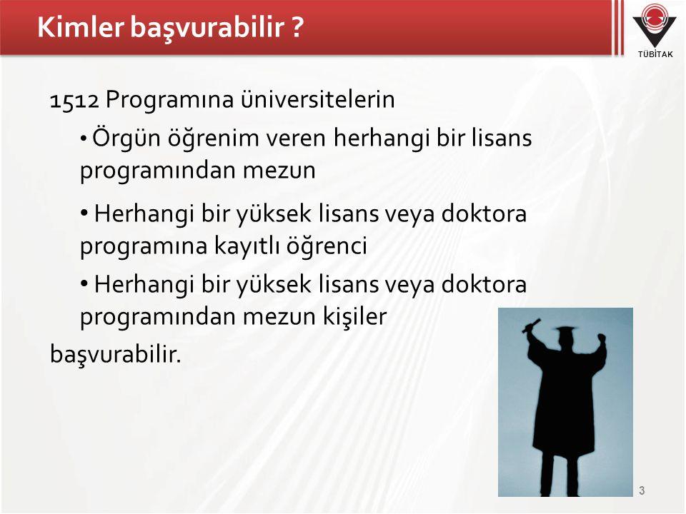 TÜBİTAK Kimler başvurabilir ? 1512 Programına üniversitelerin Örgün öğrenim veren herhangi bir lisans programından mezun Herhangi bir yüksek lisans ve