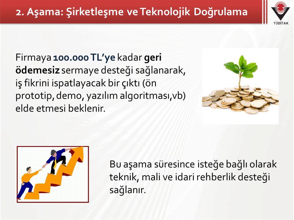 TÜBİTAK 2. Aşama: Şirketleşme ve Teknolojik Doğrulama Firmaya 100.000 TL'ye kadar geri ödemesiz sermaye desteği sağlanarak, iş fikrini ispatlayacak bi