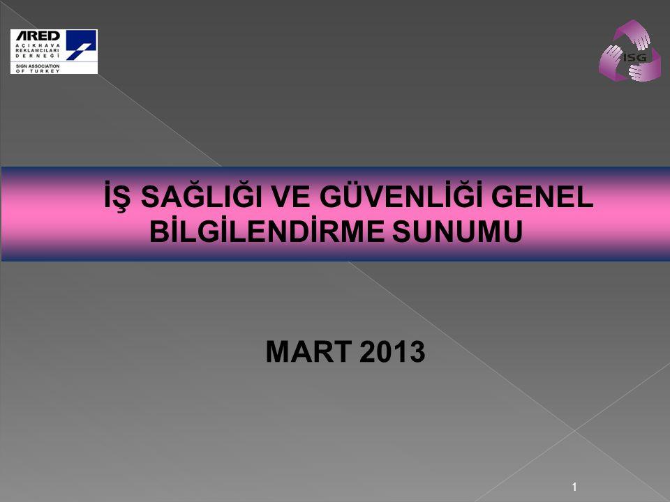 1 İŞ SAĞLIĞI VE GÜVENLİĞİ GENEL BİLGİLENDİRME SUNUMU MART 2013