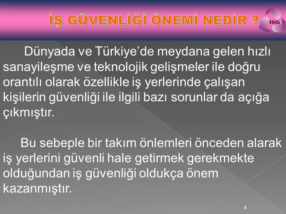 4 Dünyada ve Türkiye'de meydana gelen hızlı sanayileşme ve teknolojik gelişmeler ile doğru orantılı olarak özellikle iş yerlerinde çalışan kişilerin g