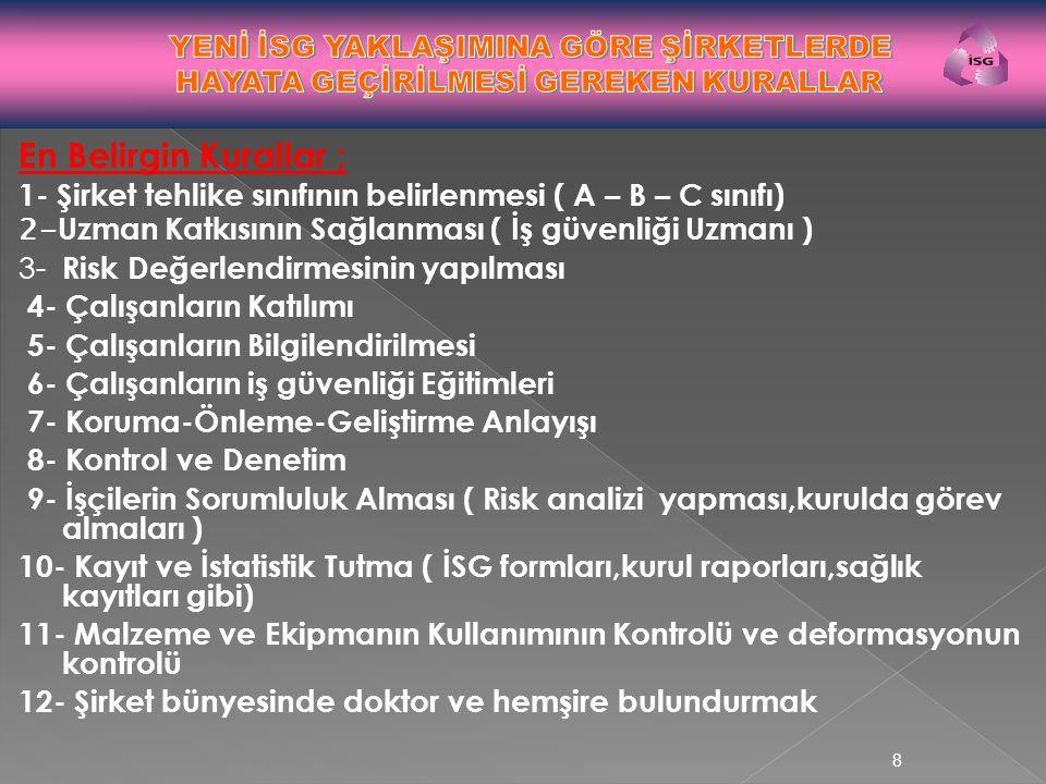 En Belirgin Kurallar ; 1- Şirket tehlike sınıfının belirlenmesi ( A – B – C sınıfı) 2- Uzman Katkısının Sağlanması ( İş güvenliği Uzmanı ) 3- Risk Değ