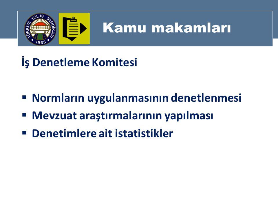 Kamu makamları İş Denetleme Komitesi  Normların uygulanmasının denetlenmesi  Mevzuat araştırmalarının yapılması  Denetimlere ait istatistikler