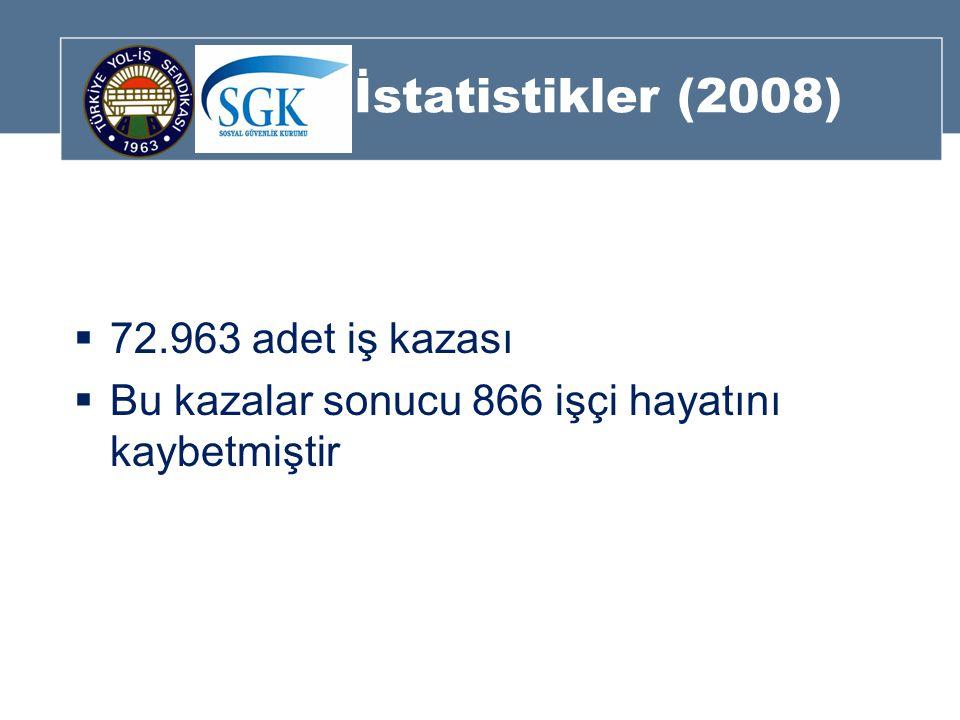 İstatistikler (2008)  72.963 adet iş kazası  Bu kazalar sonucu 866 işçi hayatını kaybetmiştir