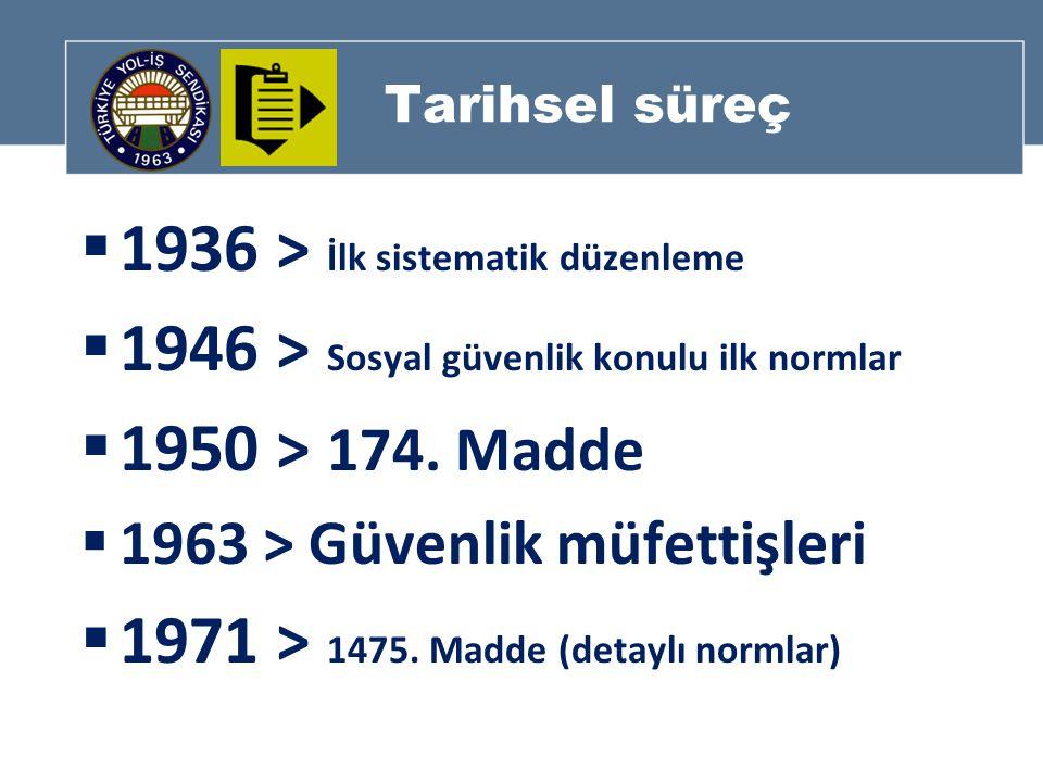 Tarihsel süreç  1936 > İlk sistematik düzenleme  1946 > Sosyal güvenlik konulu ilk normlar  1950 > 174.
