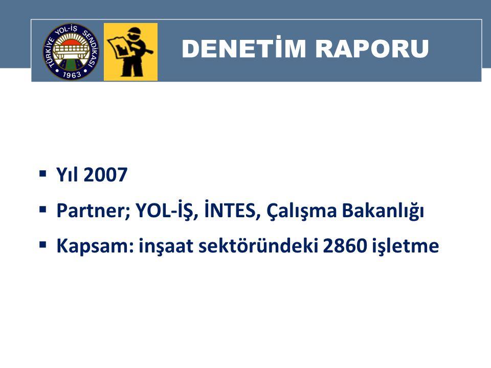 DENETİM RAPORU  Yıl 2007  Partner; YOL-İŞ, İNTES, Çalışma Bakanlığı  Kapsam: inşaat sektöründeki 2860 işletme