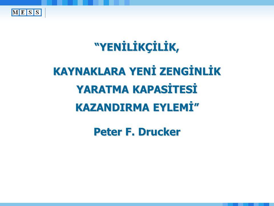 """""""YENİLİKÇİLİK, KAYNAKLARA YENİ ZENGİNLİK YARATMA KAPASİTESİ KAZANDIRMA EYLEMİ"""" Peter F. Drucker"""