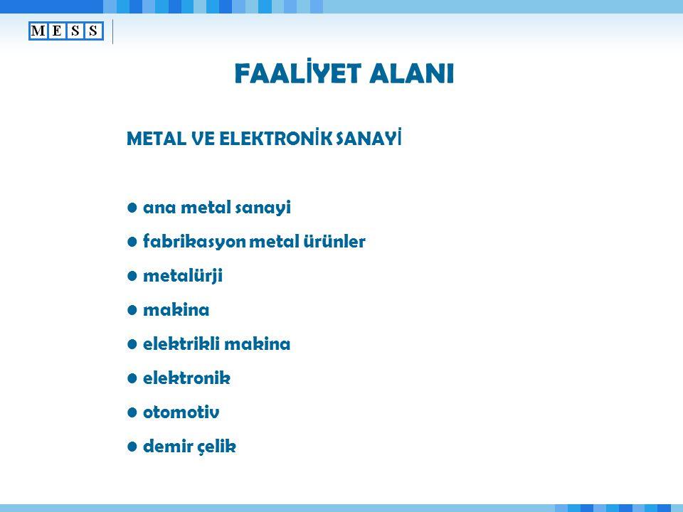 FAAL İ YET ALANI METAL VE ELEKTRON İ K SANAY İ ana metal sanayi fabrikasyon metal ürünler metalürji makina elektrikli makina elektronik otomotiv demir çelik
