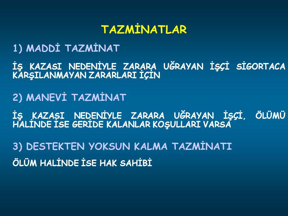 1) MADDİ TAZMİNAT İŞ KAZASI NEDENİYLE ZARARA UĞRAYAN İŞÇİ SİGORTACA KARŞILANMAYAN ZARARLARI İÇİN 2) MANEVİ TAZMİNAT İŞ KAZASI NEDENİYLE ZARARA UĞRAYAN