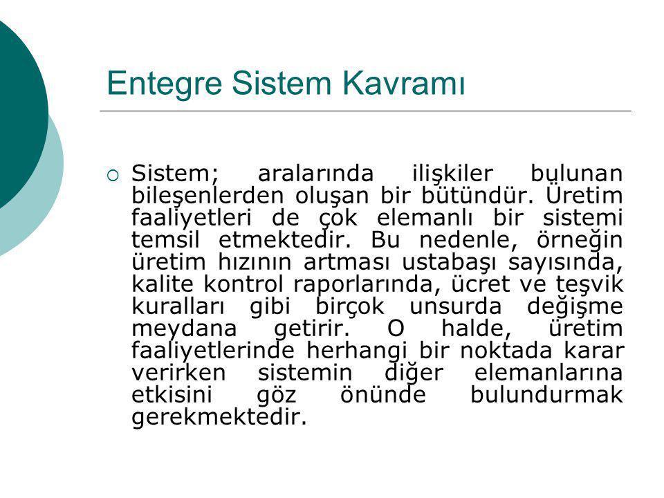 Entegre Sistem Kavramı  Sistem; aralarında ilişkiler bulunan bileşenlerden oluşan bir bütündür. Üretim faaliyetleri de çok elemanlı bir sistemi temsi