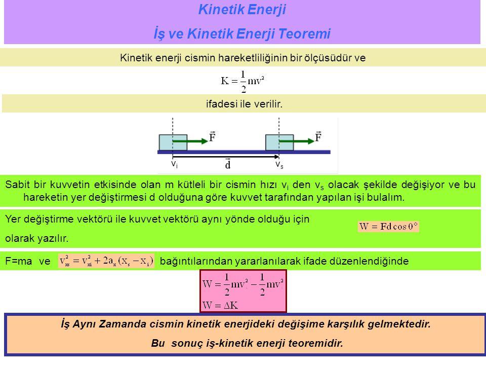 6 Yer değiştirme vektörü ile kuvvet vektörü aynı yönde olduğu için olarak yazılır. Kinetik Enerji İş ve Kinetik Enerji Teoremi Kinetik enerji cismin h