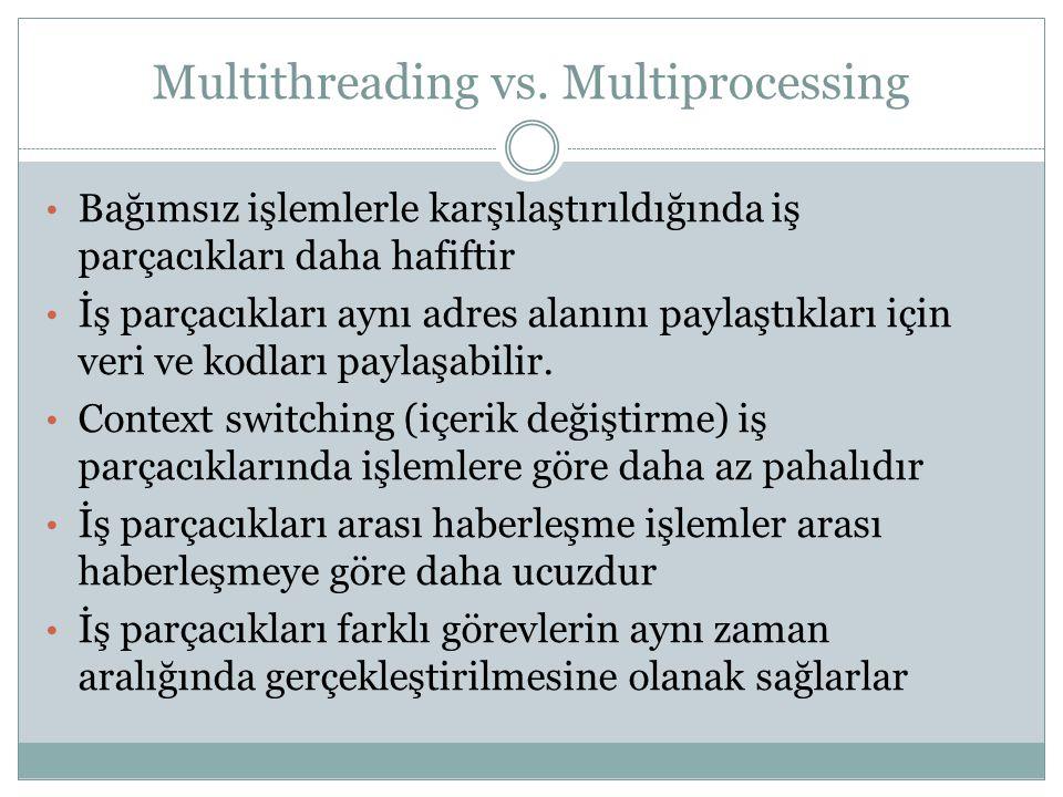 Multithreading vs. Multiprocessing Bağımsız işlemlerle karşılaştırıldığında iş parçacıkları daha hafiftir İş parçacıkları aynı adres alanını paylaştık