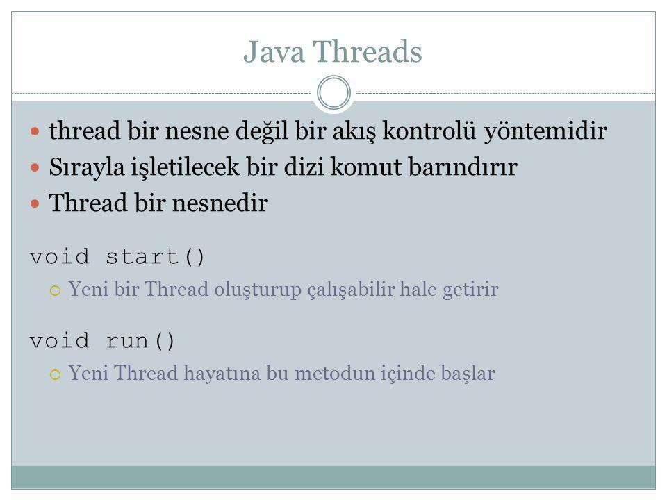 Java Threads thread bir nesne değil bir akış kontrolü yöntemidir Sırayla işletilecek bir dizi komut barındırır Thread bir nesnedir void start()  Yeni