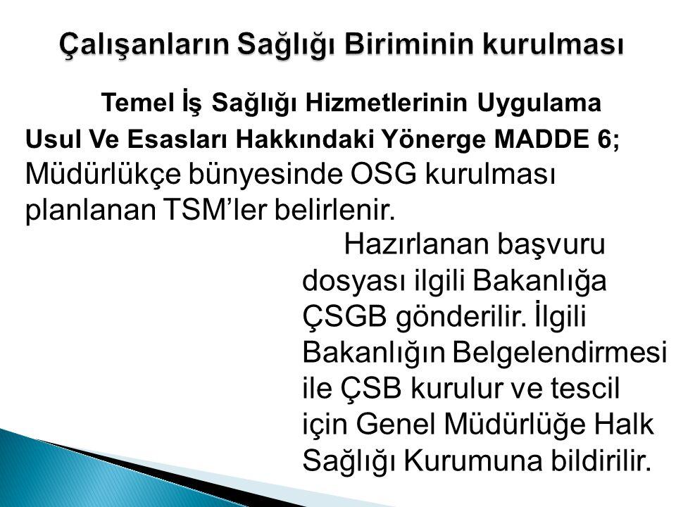 Temel İş Sağlığı Hizmetlerinin Uygulama Usul Ve Esasları Hakkındaki Yönerge MADDE 6; Müdürlükçe bünyesinde OSG kurulması planlanan TSM'ler belirlenir.