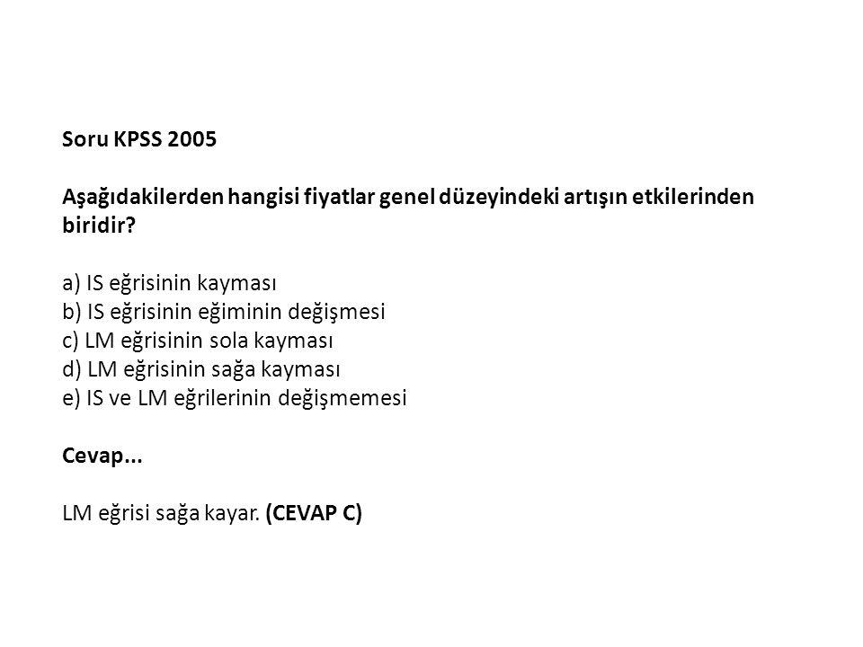 Soru KPSS 2005 Aşağıdakilerden hangisi fiyatlar genel düzeyindeki artışın etkilerinden biridir.