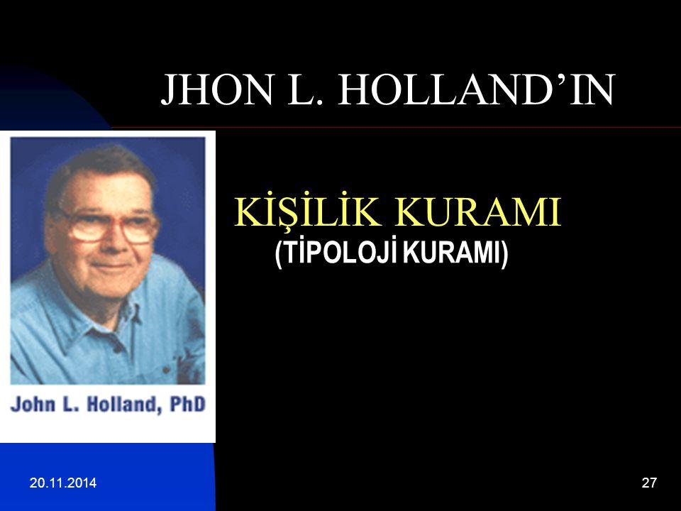 20.11.201427 (TİPOLOJİ KURAMI) JHON L. HOLLAND'IN KİŞİLİK KURAMI