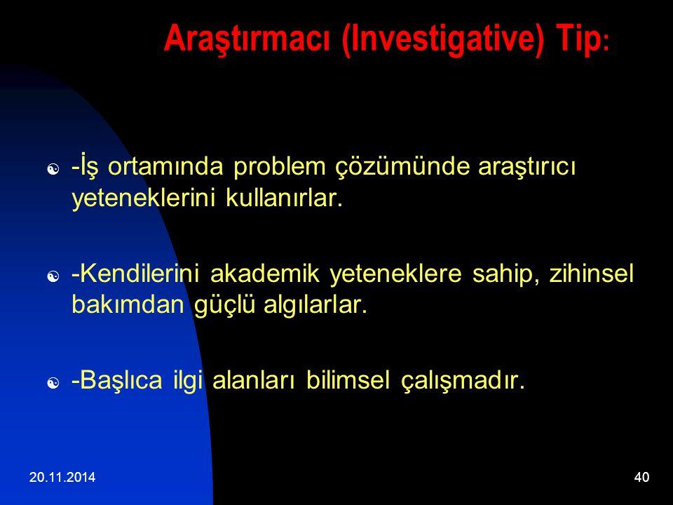 20.11.201440 Araştırmacı (Investigative) Tip :  -İş ortamında problem çözümünde araştırıcı yeteneklerini kullanırlar.