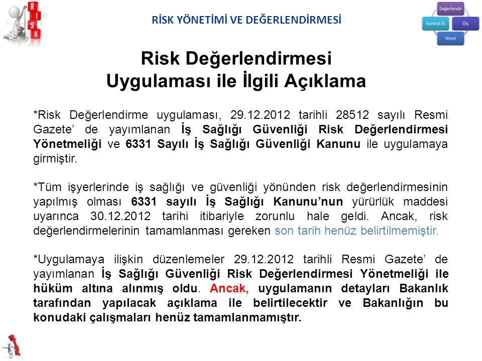 *Risk Değerlendirme uygulaması, 29.12.2012 tarihli 28512 sayılı Resmi Gazete' de yayımlanan İş Sağlığı Güvenliği Risk Değerlendirmesi Yönetmeliği ve 6