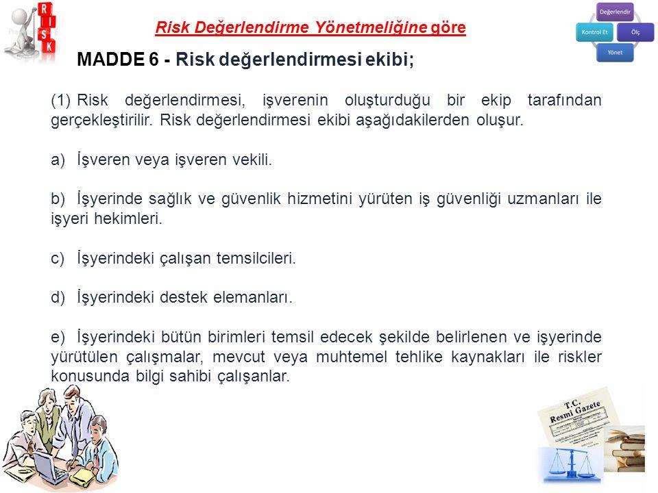 MADDE 6 - Risk değerlendirmesi ekibi; (1)Risk değerlendirmesi, işverenin oluşturduğu bir ekip tarafından gerçekleştirilir. Risk değerlendirmesi ekibi