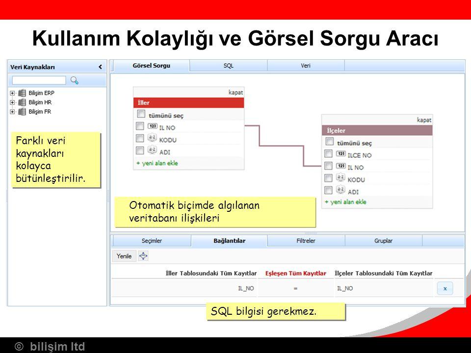 © bilişim ltd Kullanım Kolaylığı ve Görsel Sorgu Aracı SQL bilgisi gerekmez. Farklı veri kaynakları kolayca bütünleştirilir. Otomatik biçimde algılana