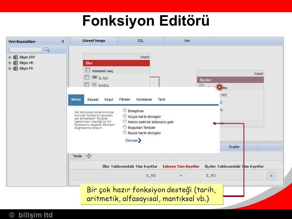 © bilişim ltd Fonksiyon Editörü Bir çok hazır fonksiyon desteği (tarih, aritmetik, alfasayısal, mantıksal vb.)