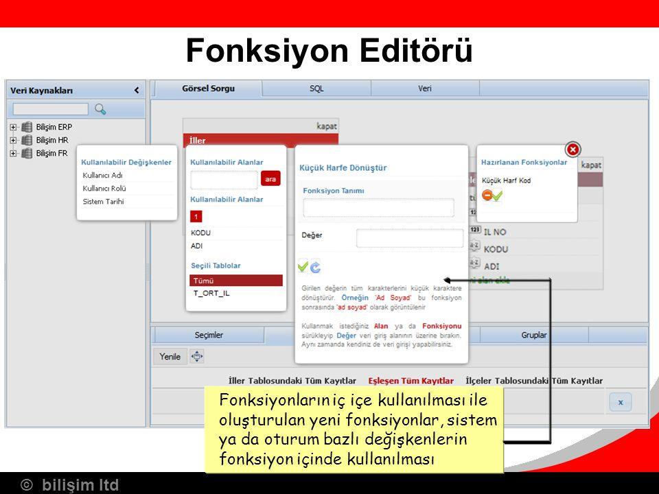 © bilişim ltd Fonksiyon Editörü Fonksiyonların iç içe kullanılması ile oluşturulan yeni fonksiyonlar, sistem ya da oturum bazlı değişkenlerin fonksiyo