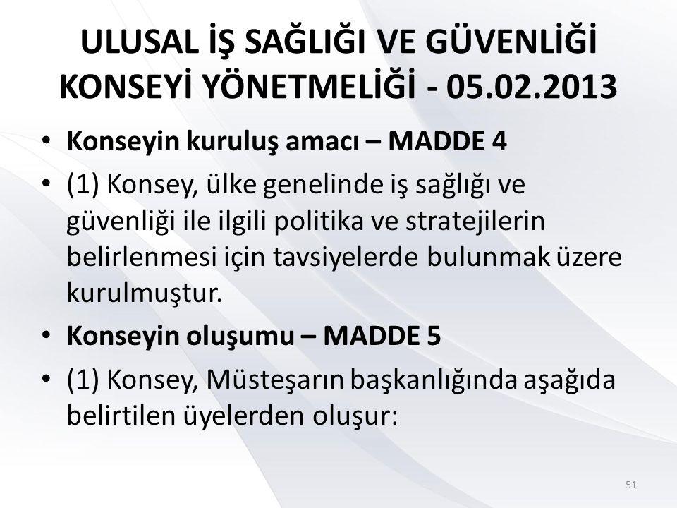 ULUSAL İŞ SAĞLIĞI VE GÜVENLİĞİ KONSEYİ YÖNETMELİĞİ - 05.02.2013 (1) ç) İşveren, işçi ve kamu görevlileri sendikaları üst kuruluşlarının en fazla üyeye sahip ilk üçünden, Türkiye Odalar ve Borsalar Birliğinden, Türkiye Esnaf ve Sanatkârları Konfederasyonundan, Türk Tabipleri Birliğinden, Türk Mühendis ve Mimar Odaları Birliğinden ve Türkiye Ziraat Odaları Birliğinden konuyla ilgili veya görevli birer yönetim kurulu üyesi 52