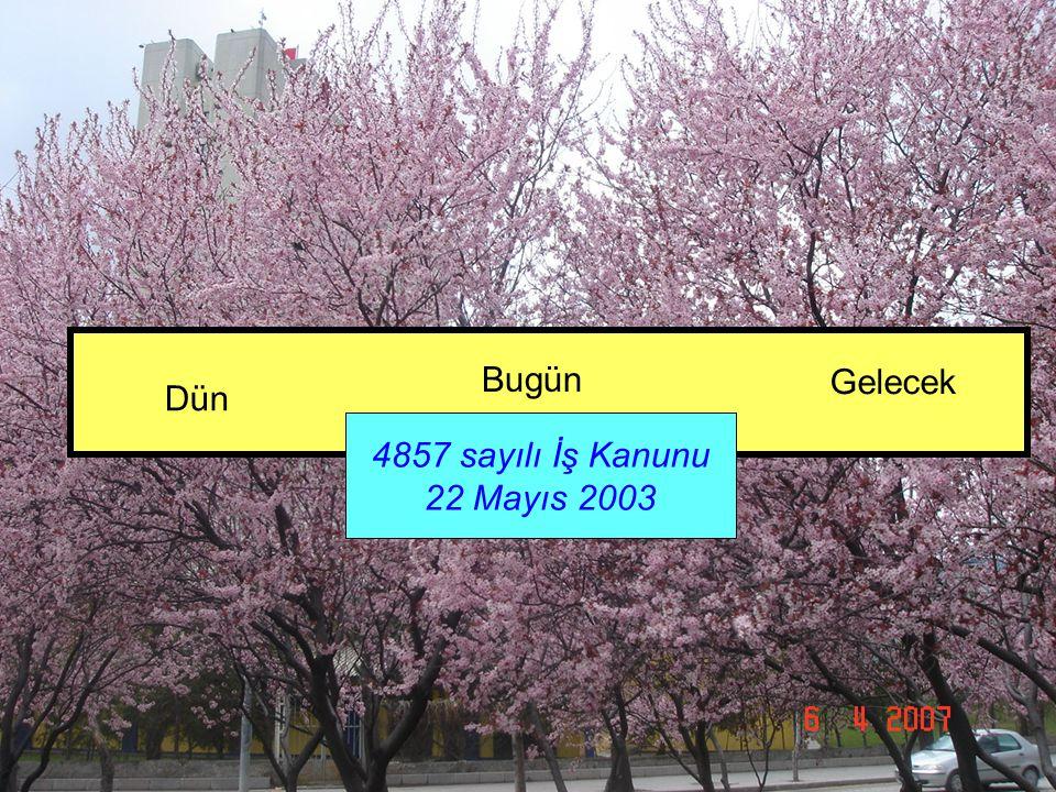 4857 sayılı İş Kanunu 22 Mayıs 2003 Dün Bugün Gelecek