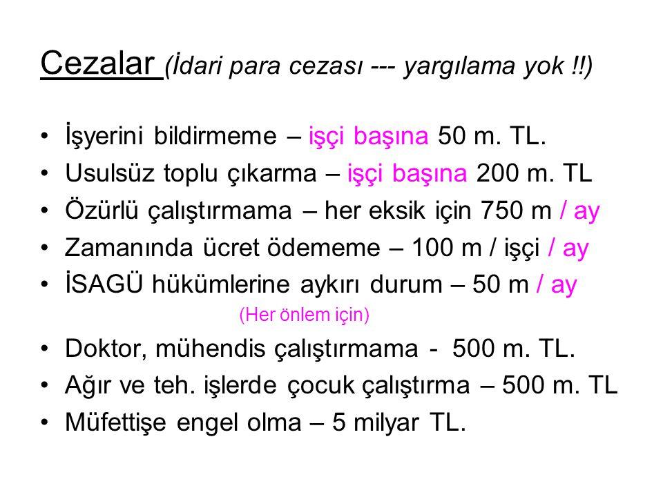Cezalar (İdari para cezası --- yargılama yok !!) İşyerini bildirmeme – işçi başına 50 m.