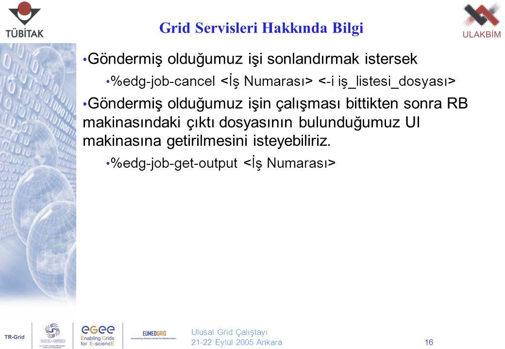 Ulusal Grid Çalıştayı 21-22 Eylül 2005 Ankara16 Göndermiş olduğumuz işi sonlandırmak istersek %edg-job-cancel Göndermiş olduğumuz işin çalışması bittikten sonra RB makinasındaki çıktı dosyasının bulunduğumuz UI makinasına getirilmesini isteyebiliriz.