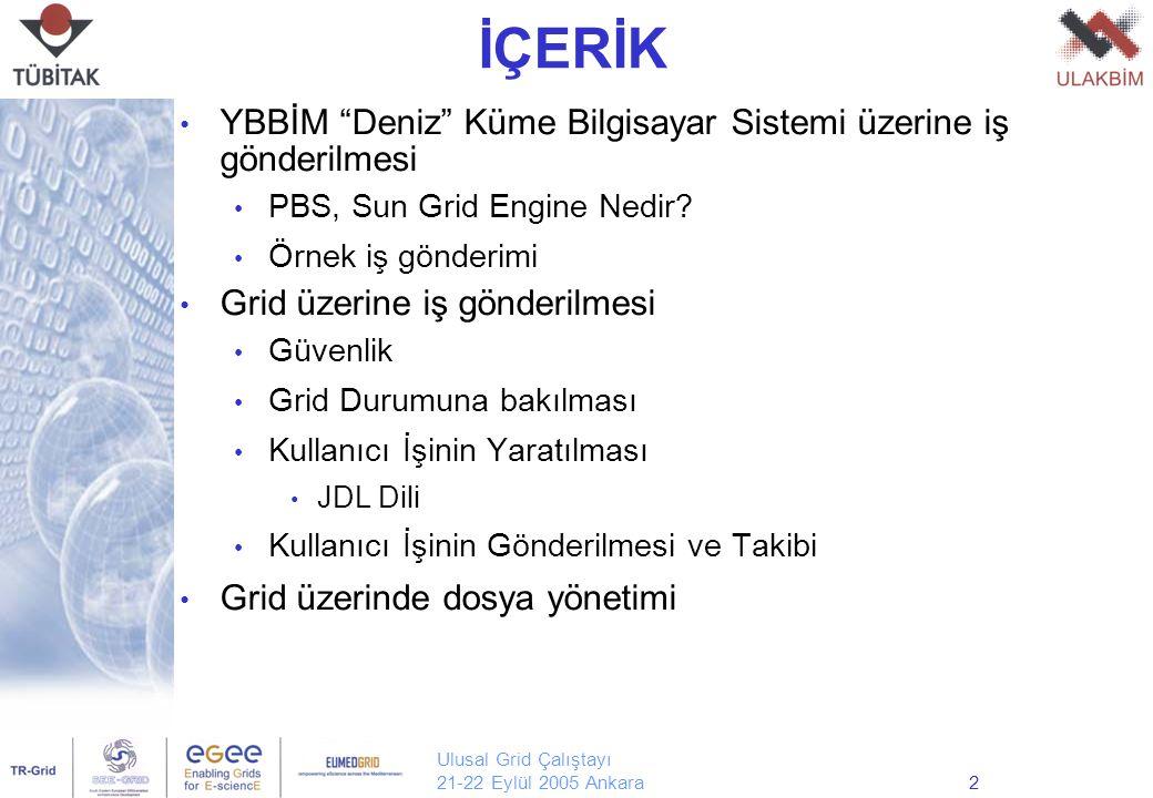 Ulusal Grid Çalıştayı 21-22 Eylül 2005 Ankara2 İÇERİK YBBİM Deniz Küme Bilgisayar Sistemi üzerine iş gönderilmesi PBS, Sun Grid Engine Nedir.