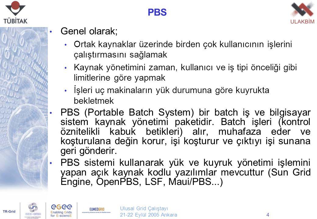 Ulusal Grid Çalıştayı 21-22 Eylül 2005 Ankara4 PBS Genel olarak; Ortak kaynaklar üzerinde birden çok kullanıcının işlerini çalıştırmasını sağlamak Kaynak yönetimini zaman, kullanıcı ve iş tipi önceliği gibi limitlerine göre yapmak İşleri uç makinaların yük durumuna göre kuyrukta bekletmek PBS (Portable Batch System) bir batch iş ve bilgisayar sistem kaynak yönetimi paketidir.