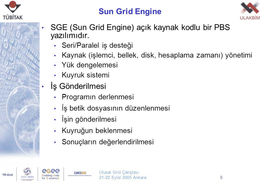 Ulusal Grid Çalıştayı 21-22 Eylül 2005 Ankara5 Sun Grid Engine SGE (Sun Grid Engine) açık kaynak kodlu bir PBS yazılımıdır. Seri/Paralel iş desteği Ka